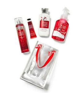 BATH & BODY WORKS GIFT BAG SET WINTER CANDY APPLE BODY MIST HAND CREAM SOAP NEW