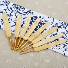 8pcs Bamboo Handle Crochet Hooks Bag Sweater Decoration Knitting Needle Handmade