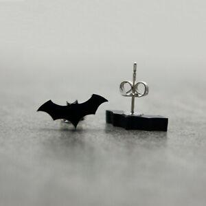 Bat Earrings - Black Acrylic Halloween Costume Jewellery - Hypoallergenic Studs
