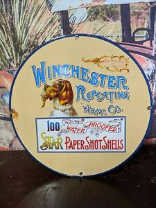 OLD VINTAGE 1960'S WINCHESTER REPEATING ARMS AMMO PORCELAIN SIGN SHOT SHELLS