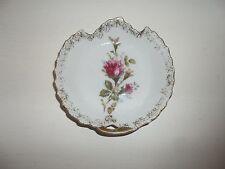Vintage Porcelain Gold Trimmed Rose Design Trinket Dish