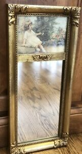"""French Style Gold Trumeau Mirror w/ Picture Of Girl In Flower Garden~9"""" X 19.5"""""""