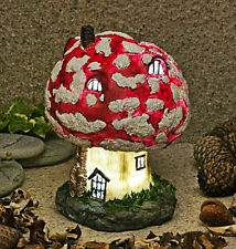 Large Solar Powered Soft LED Toadstool Fairy House Garden Ornament Porch Light