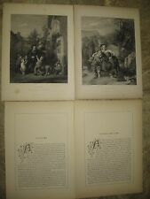 2- 1853 Photogravures Engravings by William Mulready-Crossing The Ford/Fair Time