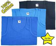 3 PACK OF MENS THICKER BLUES INTERLOCK SINGLET 100% COTTON VESTS TANK TOP GYM