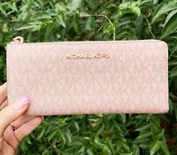 Michael Kors Jet Set Travel Signature Large 3/4 Zip Wallet Ballet Pink MK