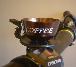 Coffee Cup Bicycle Bell fits MTB BMX Hybrid Bike 22.2mm bars / Brown or Silver