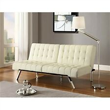 Futon Sofa Bed Living Room Couch Sleeper Modern Faux Leather Furniture Vanilla