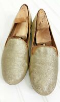 STUART WEITZMAN Women's Flats Gold Glitter Loafers 6M Holiday Sparkle Shoes