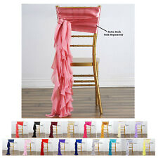5Pcs Chiffon Curly Chair Sashes For Catering Wedding Party Decorations