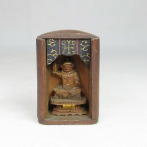 D0791: Rare, real old Japanese very small Buddhist statue with good atmosphere