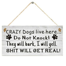 Crazy Dogs Live Here Sign Christmas Wooden Pendant Hanging Board Decor Charm