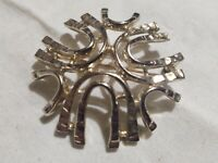 """Brooch Pin VTG Gold Tone Metal Signed Sarah Coventry Snowflake 2"""" Across"""