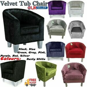 Luxury Crushed Velvet Fabric Armchair Tub Chair Home Cafe Lounge Bedroom Sofa UK