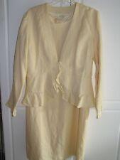 COLDWATER CREEK YELLOW LINEN SHEATH DRESS JACKET SET SUIT SIZE 10 NWT