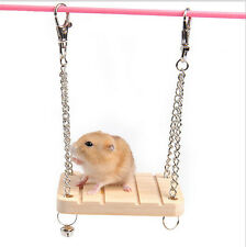 Pet Hamster Wooden Swing Toy With a Bell Small Animals Hammock Pack Supply UK