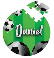 Personalised Football Theme Round Wooden Jigsaw Puzzle Any Text 24 Piece Gift 32