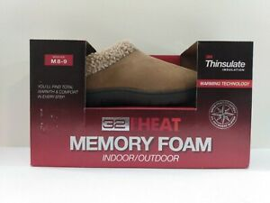 New 32 Degrees Heat Faux Fur Collar Memory Foam Brown Clog Slippers Shoes 8-9