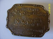 southwestern stage company american express co. transport brass belt buckle