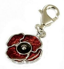 STERLING SILVER ENAMELLED POPPY CHARM TRIGGER CLASP