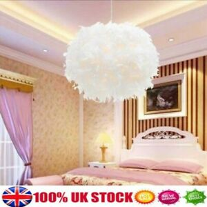UK White Feather LED Ceiling Pendant Sphere Round Light Shade Bedroom Lampshade✨