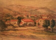 "Early 20Th Century Signed Spanish School Painting "" Houses On The Hillside"""