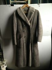 Vintage sheepskin shearling winter long coat grey size 6 8, Excellent Condition