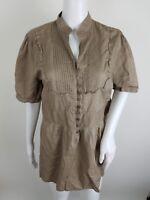 Central Park Womens Blouse Plus Size 1X Button Front Brown Short Sleeve
