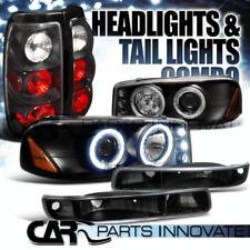 GMC 99-03 Sierra Fleetside Black Projector Headlights+Bumper Lamps+Tail Lights