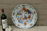 LARGE Antique Dutch Delft 19thc polychrome pottery wall Plate Chinoiserie decor