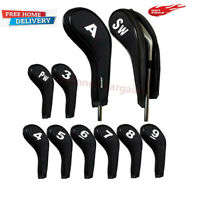 Pack of 10 Golf Club Iron Head Covers Long Neck Wedge Headcovers Set Ping Black