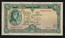 IRELAND 1943 WAR CODE (G)  £1  LADY  LAVERY  banknote.