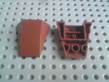 Lego Slopes Wedges 4x4 Curved, No Studs - Brown x2