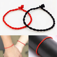 Women Men Weaved Black Red Lucky Bracelet Hand Braided String Rope Lover Gift