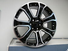 "(4) 22"" Yukon Denali 1500 GMC Chevy Black Machined Wheels Rims Set Sierra"