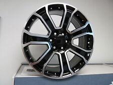 "(4) 22"" Yukon Denali 1500 GMC Chevy Black Machined Wheels Rims Set Sierra"