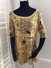 GALLIANO NEWSPAPER PRINT KNIT TOP TUNIC - NWT SIZE M