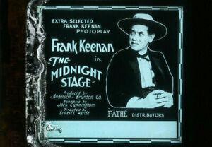 THE MIDNIGHT STAGE Rare 1919 Silent Film FRANK KEENAN Western Movie Glass Slide
