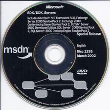 Microsoft Exchange 2000 Server, SQL Server, Conferencing server .NET SDK MSDN CD