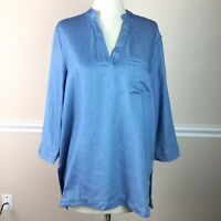 Mudpie Womens Top Denim Chambray Tunic Hi Low 3/4 Sleeve V Neck Size M 8 10