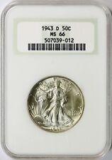 1943-D Walking Liberty Half Dollar 50c NGC MS66 Old Fat Holder