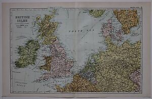 1910 ORIGINAL MAP BRITISH ISLES STEAMSHIP ROUTES NETHERLANDS BELGIUM GERMANY