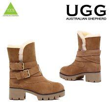 Ugg Boots 100% Sheepskin High Heels Double Strap Australian Ladies Size 35-39 EU