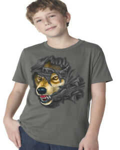 Boys Graphic Tees Wolf Tearing Through Kids Youth Tee Shirts Gifts