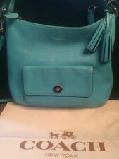COACH 22381 LEGACY LEATHER COURTENAY HOBO BAG Tassels Crossbody Robin Blue EUC