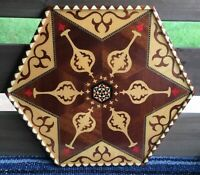 Vtg Wooden Inlay Marquetry Handcrafted Tray Granada Spain Pomegranate Hexagon