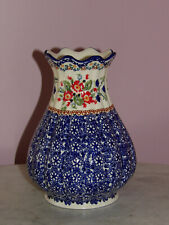 "Polish Pottery 8"" Scalloped Tear Drop Vase! Unikat Signature Exclusive Zoey!"