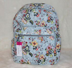 Vera Bradley Large Campus Backpack Laptop Travel Bag Floral Floating Garden NWT