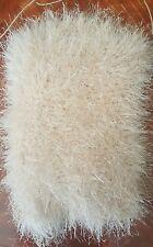 Scaldacollo collo artigianale lana effetto pelliccia beige cangiante nuovo