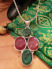 """NATURAL EMERALD+RUBY GEM 100% .925 STERLING SILVER PENDANT+16"""" SILVER CHAIN"""